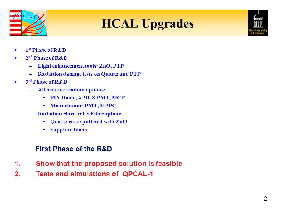 HCAL Upgrades First Phase of the R&D