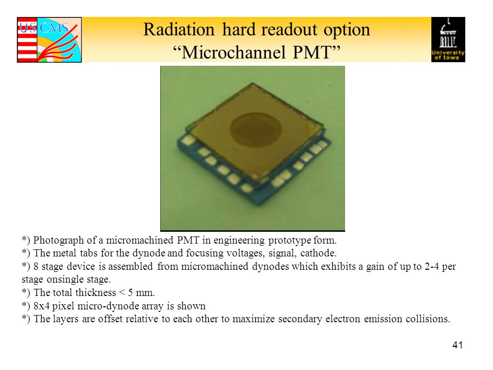 Radiation hard readout option Microchannel PMT