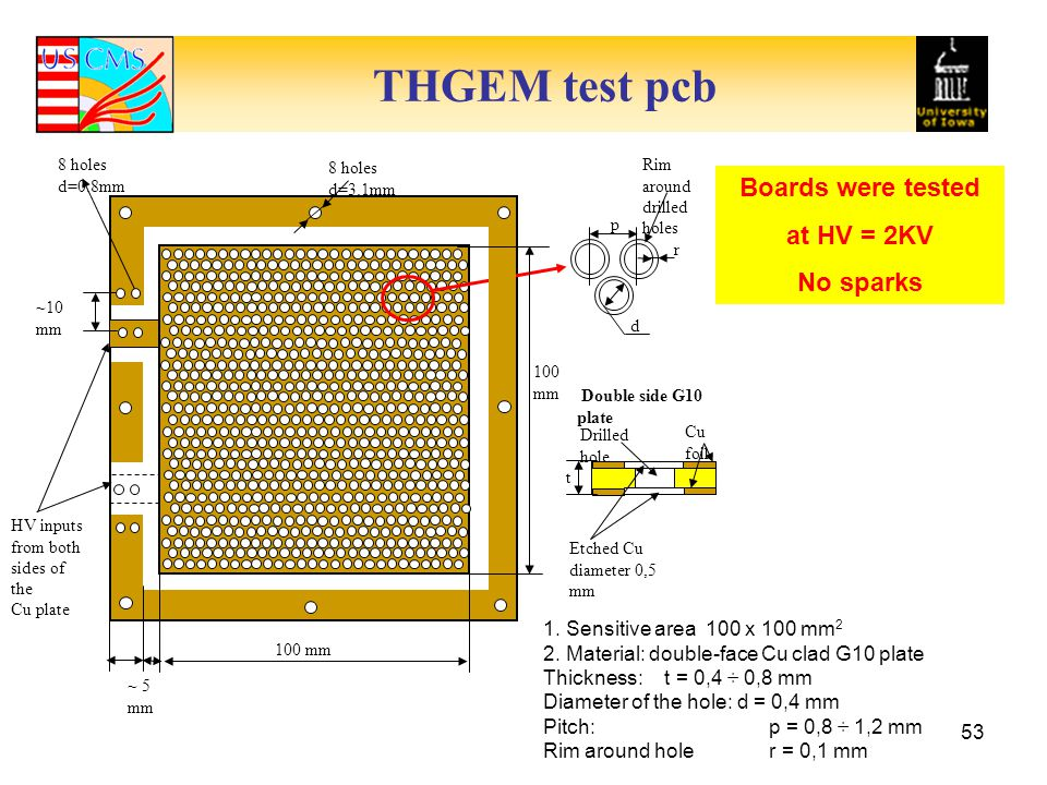 THGEM test pcb Boards were tested at HV = 2KV No sparks
