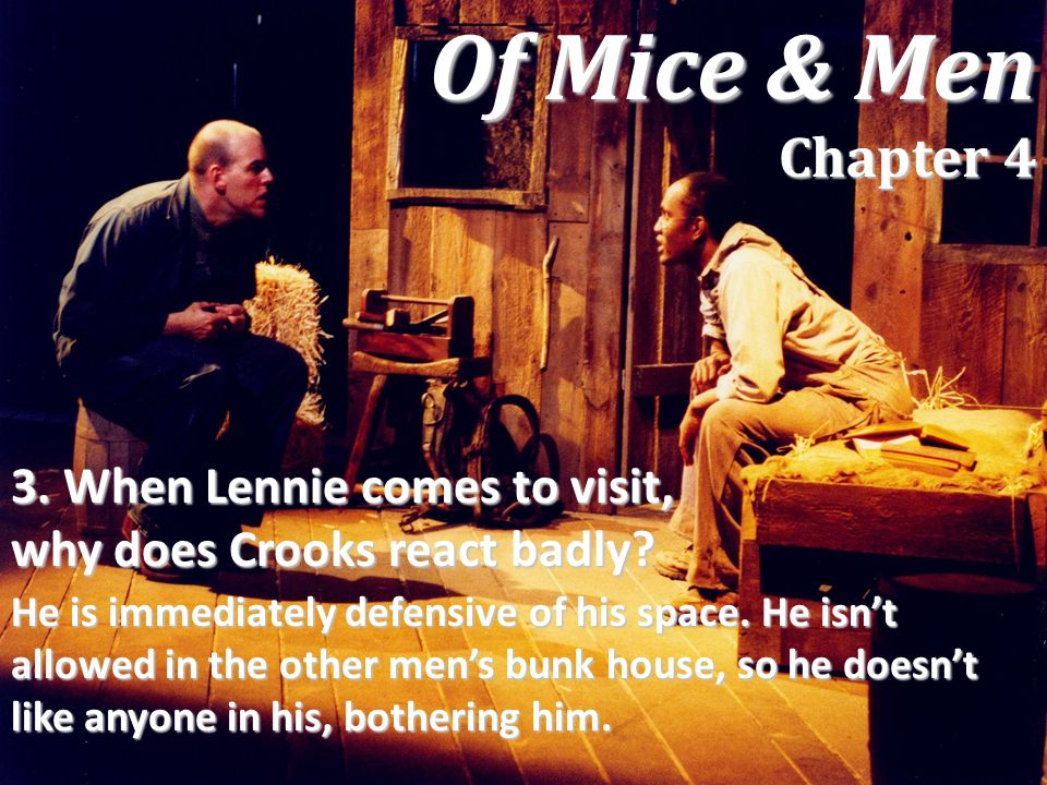 Of Mice & Men Chapter 4 3. When Lennie comes to visit, why does Crooks react badly