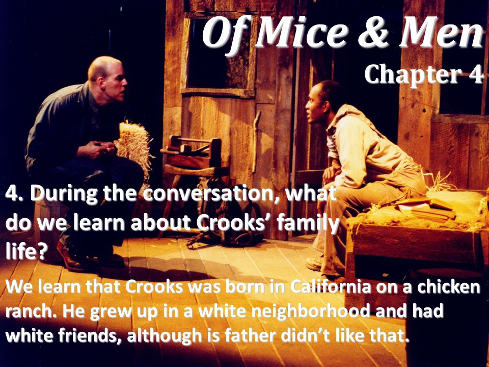 Of Mice & Men Chapter 4 4. During the conversation, what do we learn about Crooks' family life