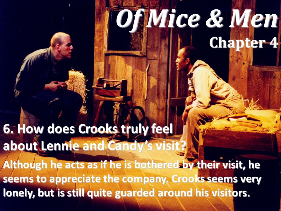 Of Mice & Men Chapter 4 6. How does Crooks truly feel about Lennie and Candy's visit