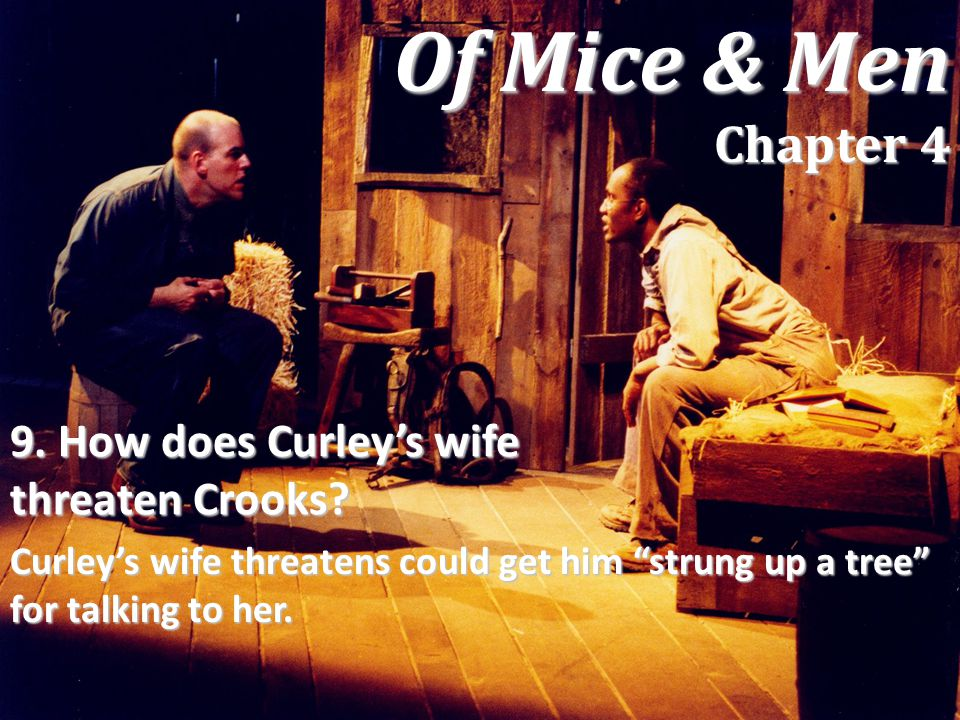 Of Mice & Men Chapter 4 9. How does Curley's wife threaten Crooks