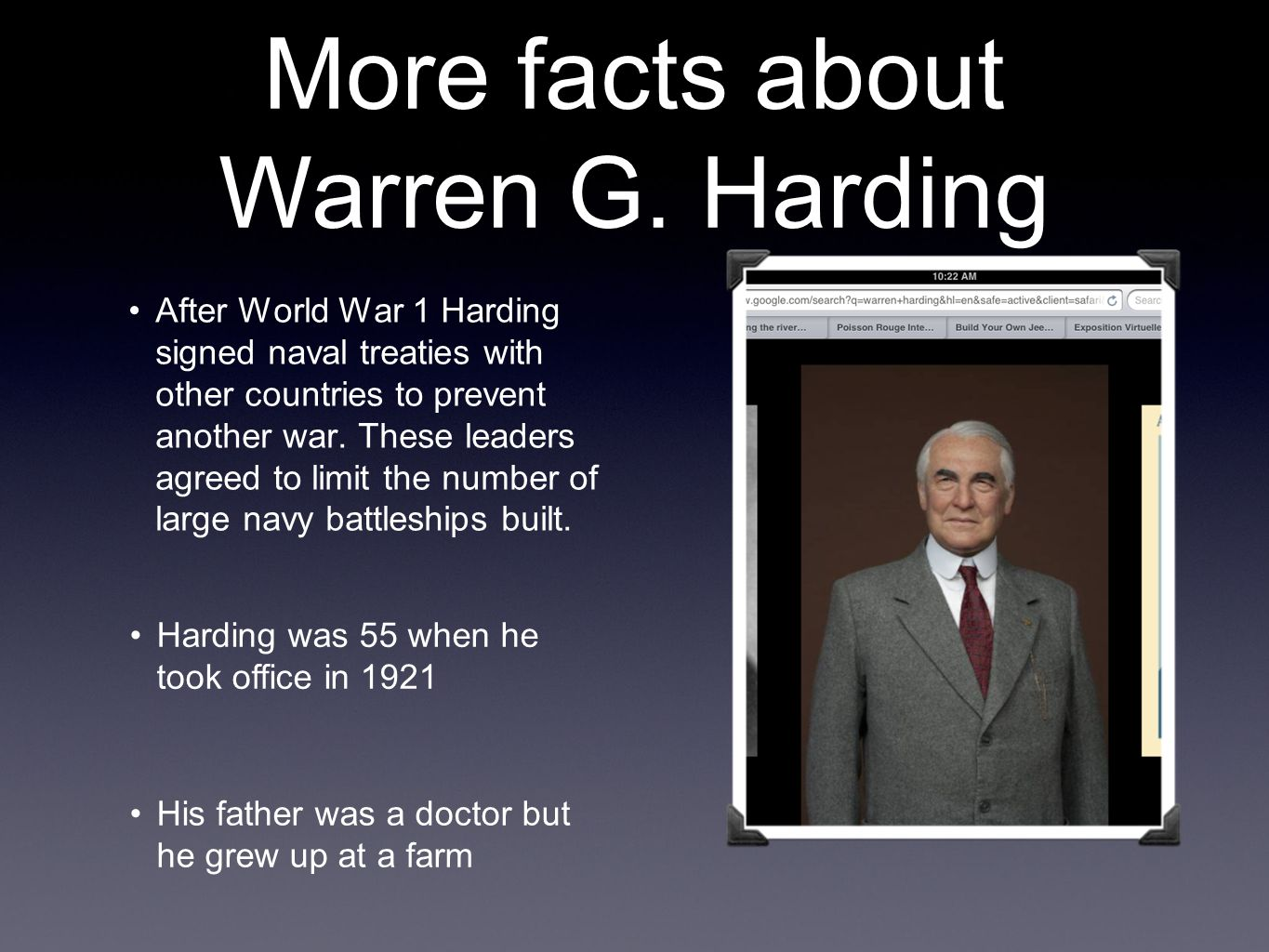 More facts about Warren G. Harding