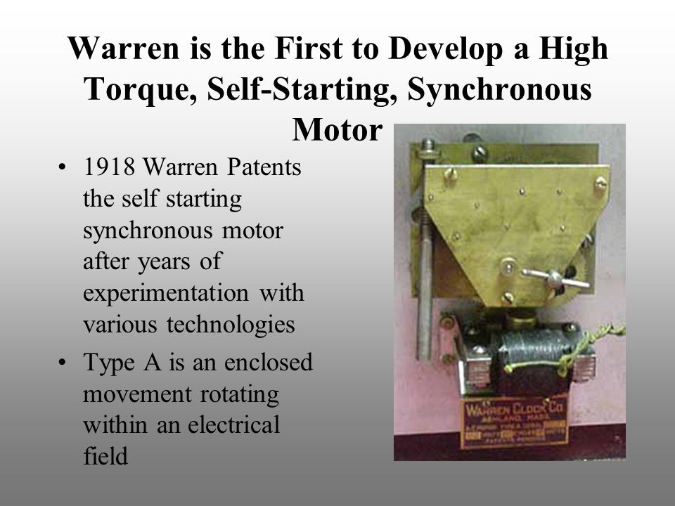 Warren is the First to Develop a High Torque, Self-Starting, Synchronous Motor
