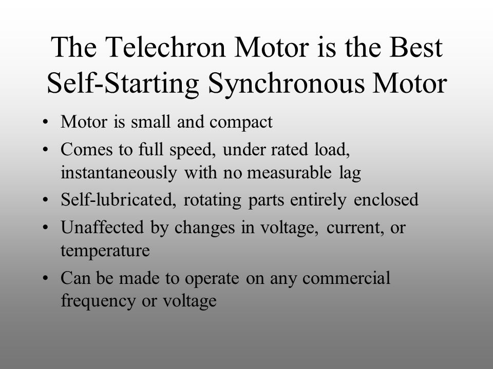 The Telechron Motor is the Best Self-Starting Synchronous Motor
