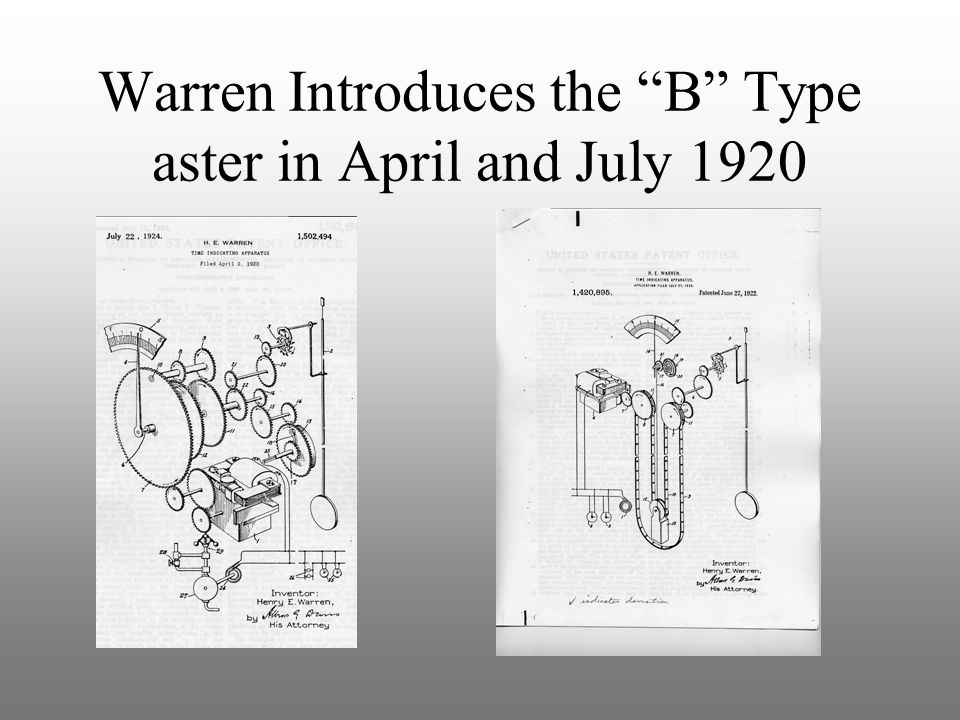 Warren Introduces the B Type aster in April and July 1920
