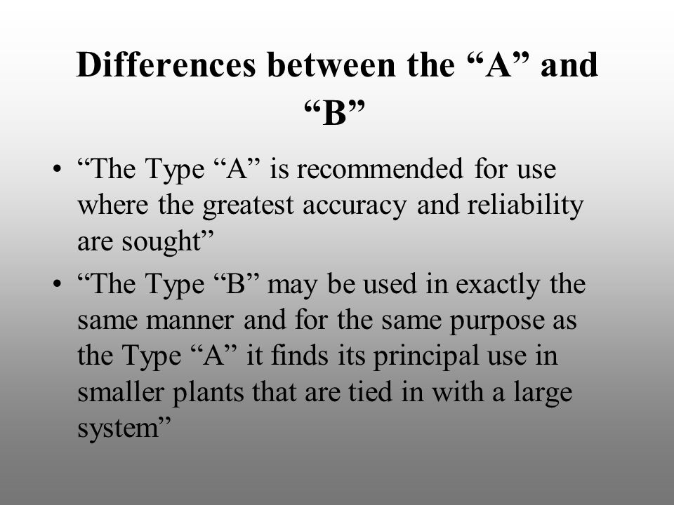 Differences between the A and B
