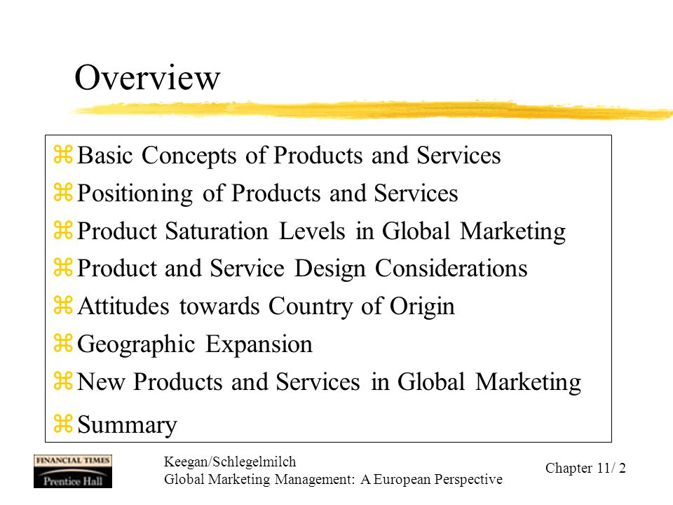 Overview Basic Concepts of Products and Services