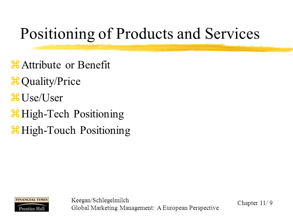 Positioning of Products and Services