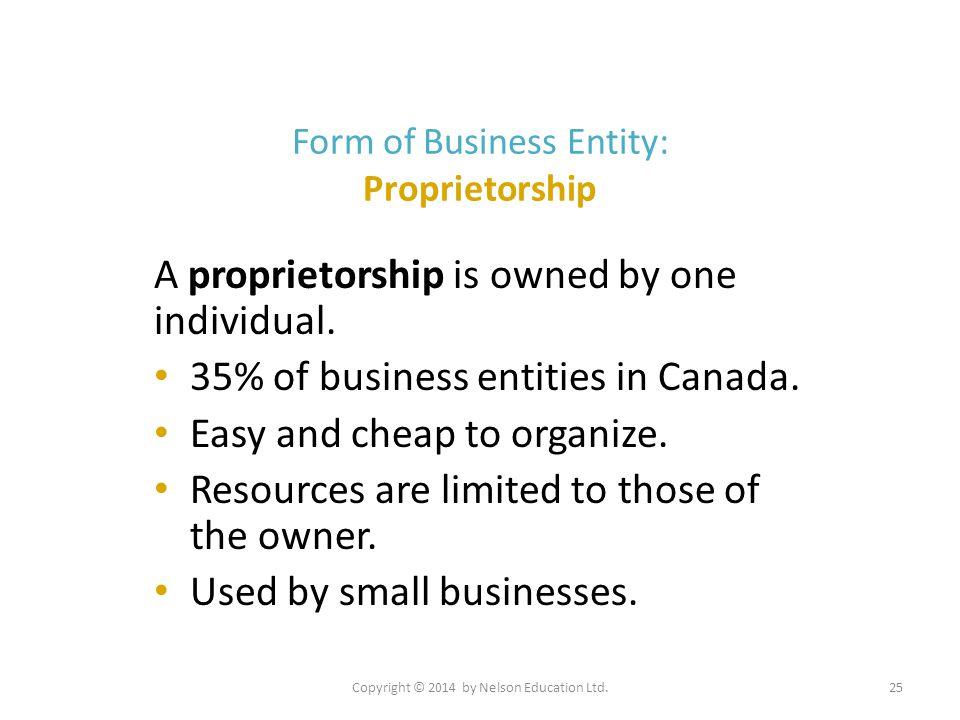 Form of Business Entity: Proprietorship