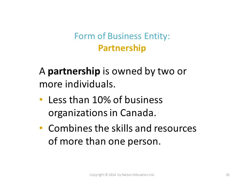 Form of Business Entity: Partnership