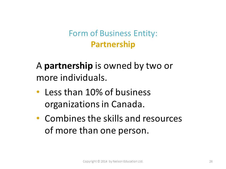 Form of Business Entity: Partnership