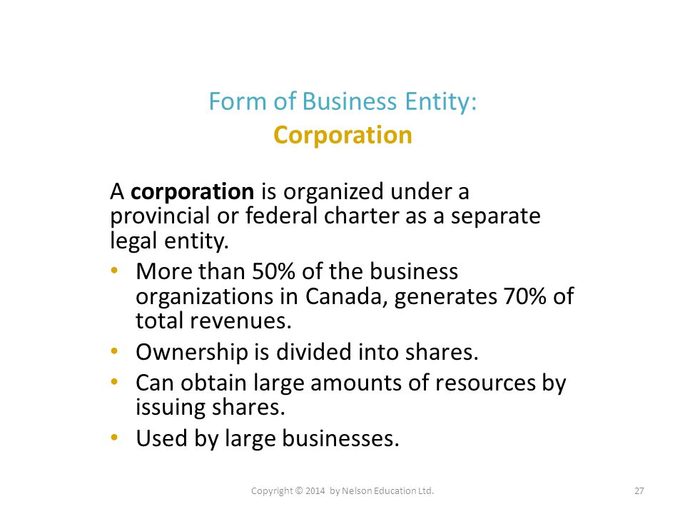 Form of Business Entity: Corporation