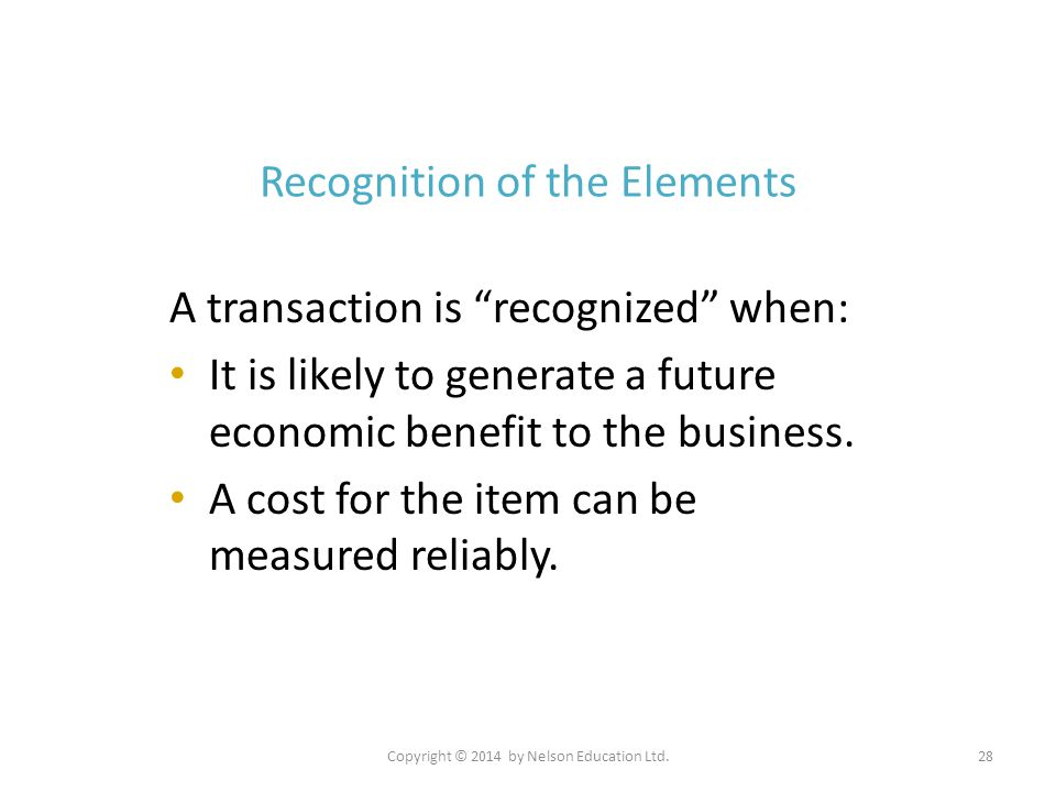 Recognition of the Elements