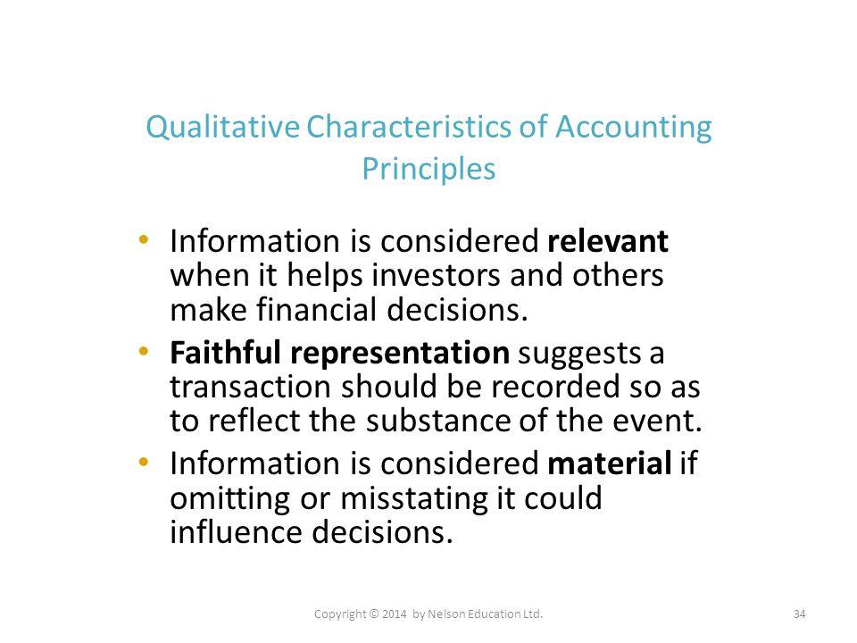 Qualitative Characteristics of Accounting Principles