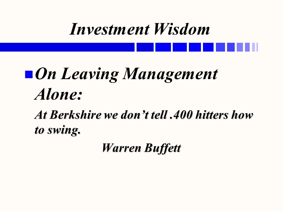 On Leaving Management Alone: