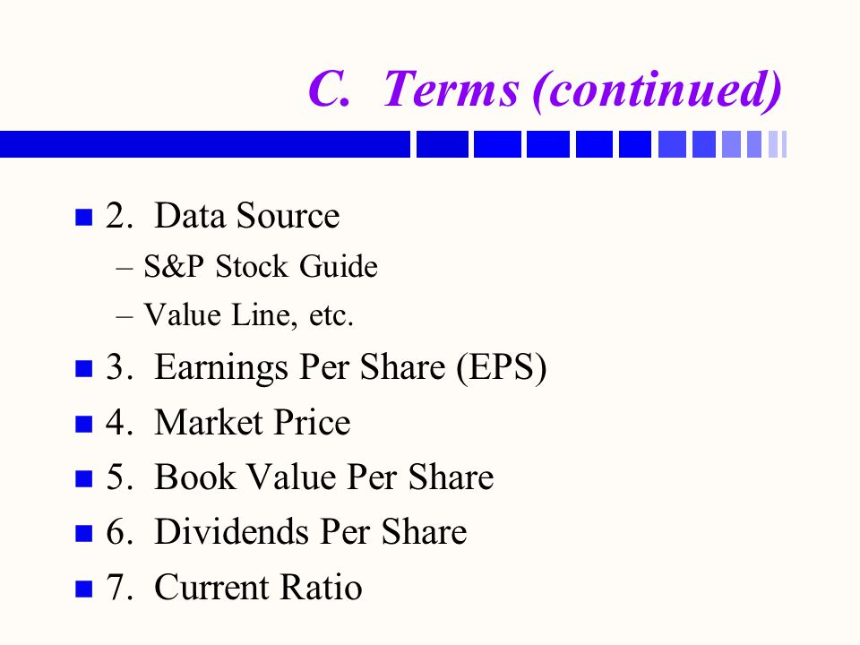 C. Terms (continued) 2. Data Source 3. Earnings Per Share (EPS)