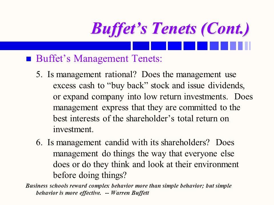Buffet's Tenets (Cont.)