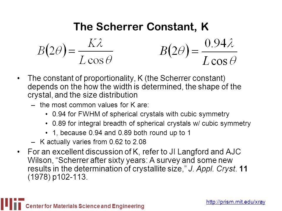 The Scherrer Constant, K