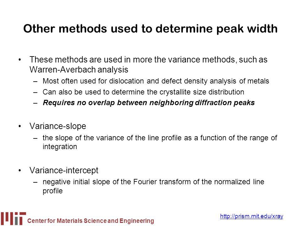 Other methods used to determine peak width