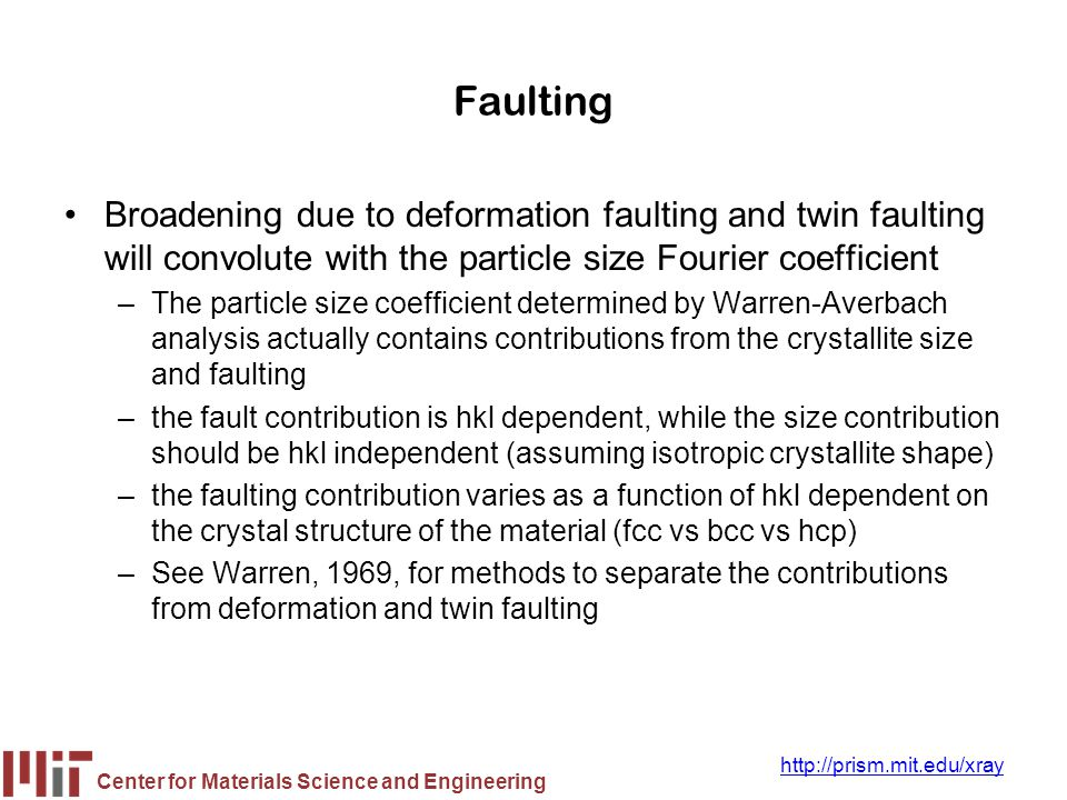 Faulting Broadening due to deformation faulting and twin faulting will convolute with the particle size Fourier coefficient.