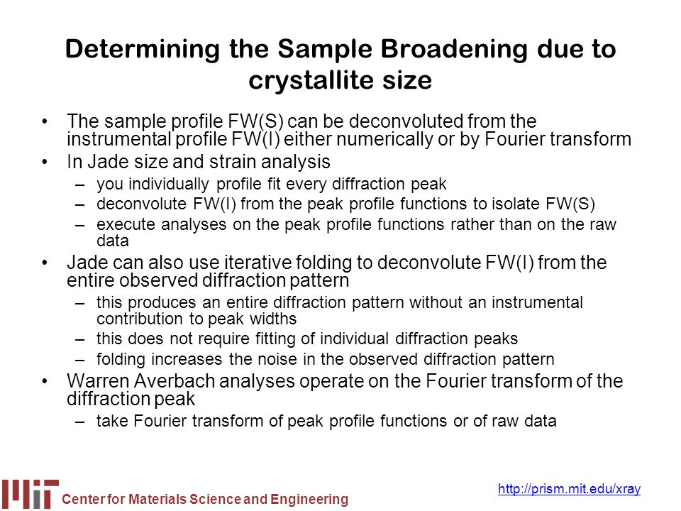 Determining the Sample Broadening due to crystallite size