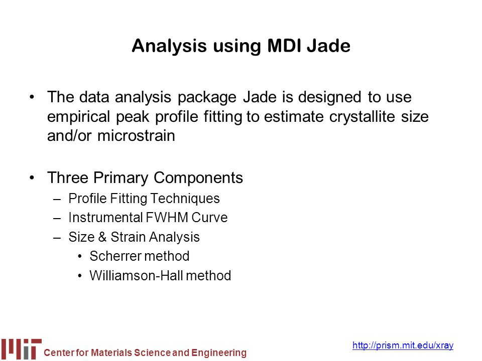 Analysis using MDI Jade