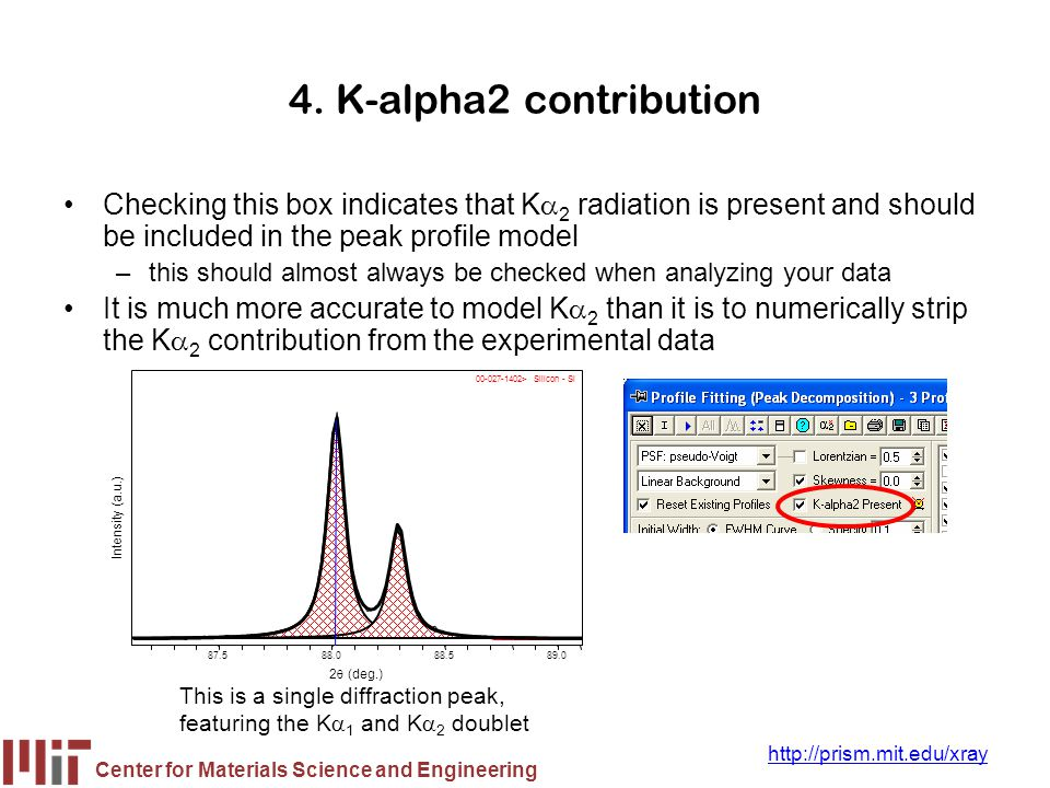4. K-alpha2 contribution Checking this box indicates that Ka2 radiation is present and should be included in the peak profile model.