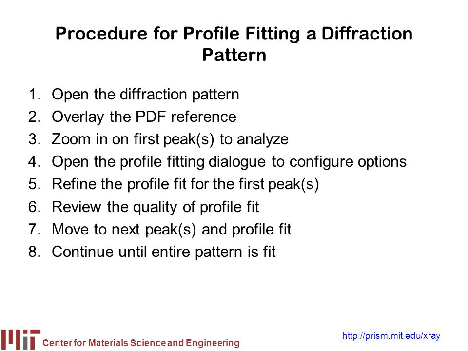 Procedure for Profile Fitting a Diffraction Pattern