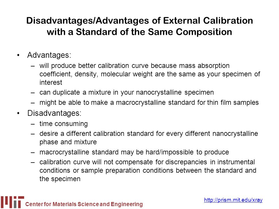 Disadvantages/Advantages of External Calibration with a Standard of the Same Composition