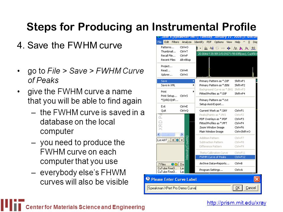 Steps for Producing an Instrumental Profile