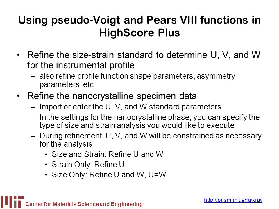 Using pseudo-Voigt and Pears VIII functions in HighScore Plus