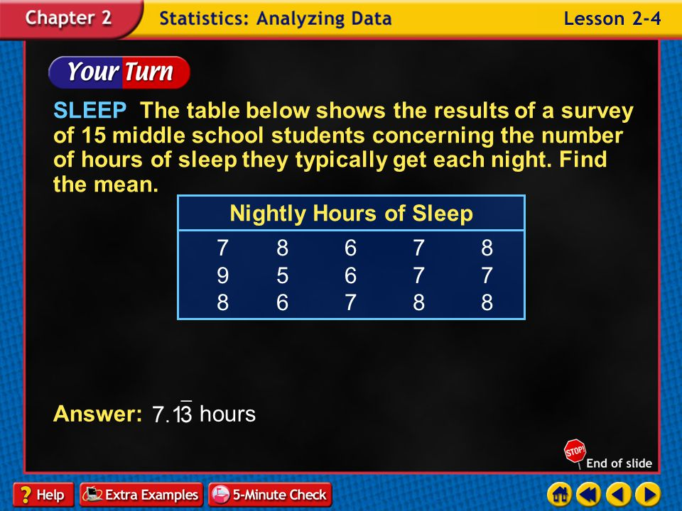 SLEEP The table below shows the results of a survey of 15 middle school students concerning the number of hours of sleep they typically get each night. Find the mean.