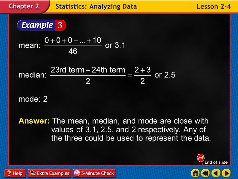 Answer: The mean, median, and mode are close with. values of 3. 1, 2