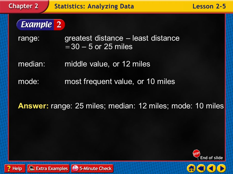 range: greatest distance – least distance 30 – 5 or 25 miles
