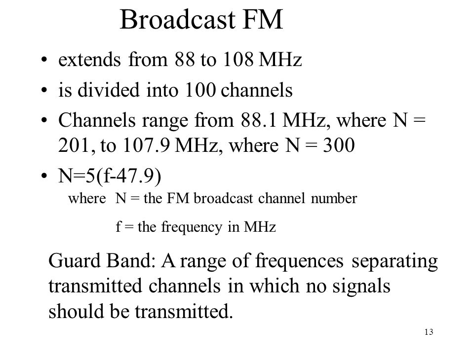Broadcast FM extends from 88 to 108 MHz is divided into 100 channels