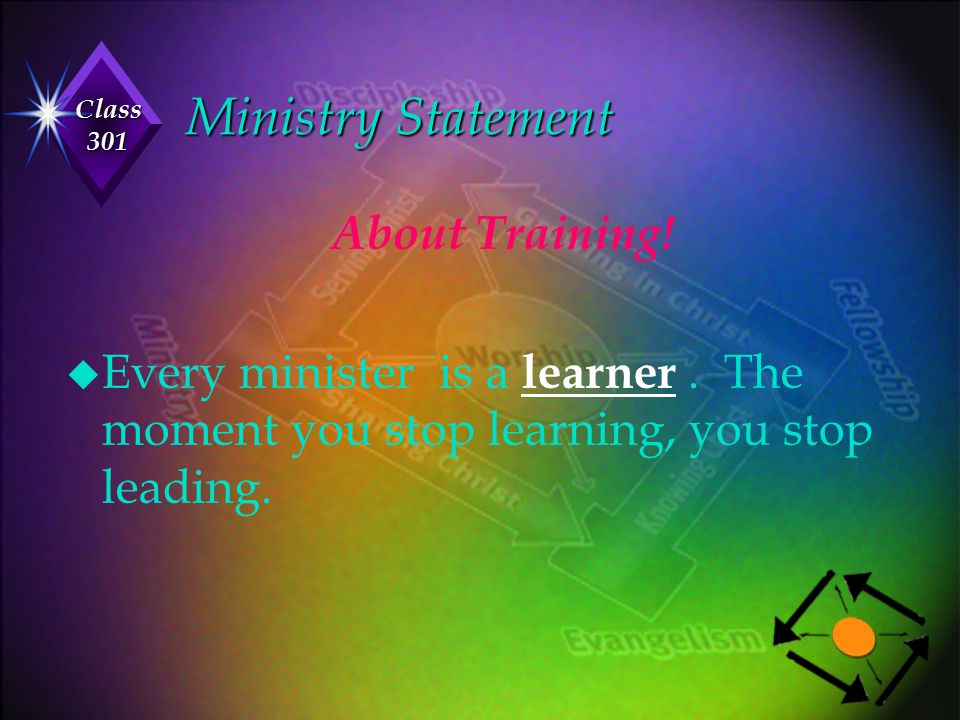 Ministry Statement About Training!