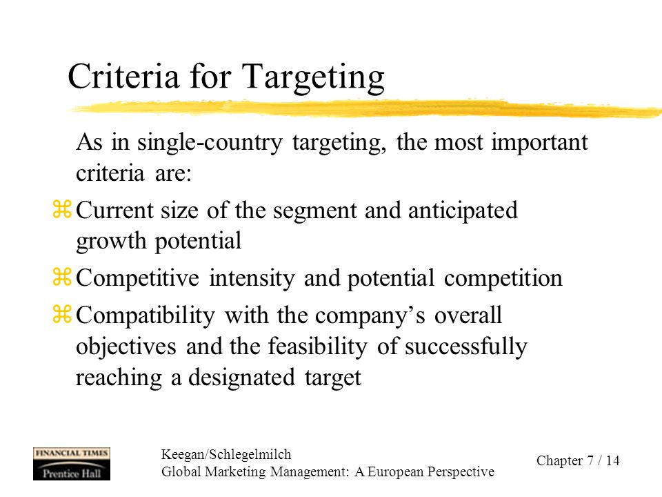 Criteria for Targeting