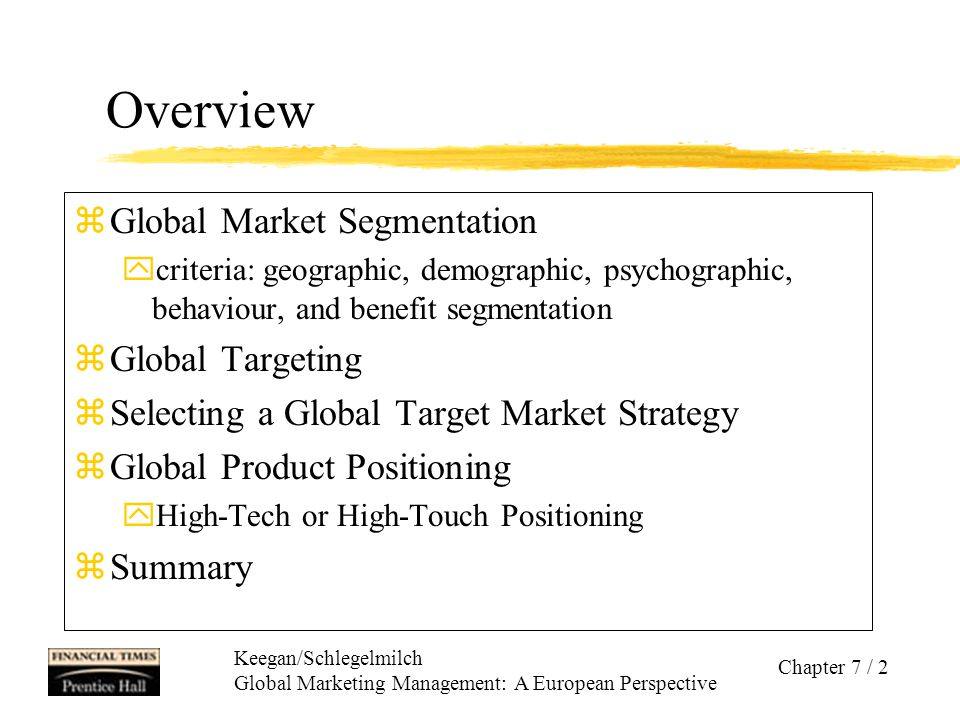 Overview Global Market Segmentation Global Targeting