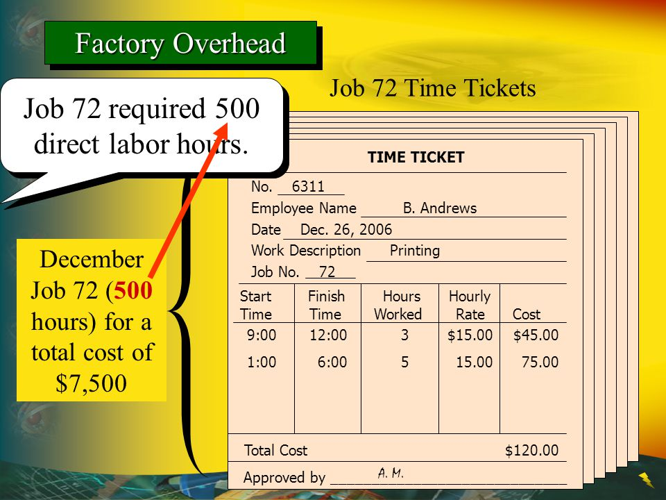 Job 72 required 500 direct labor hours.