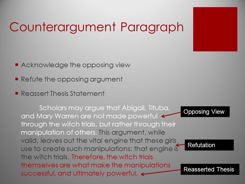 Counterargument Paragraph