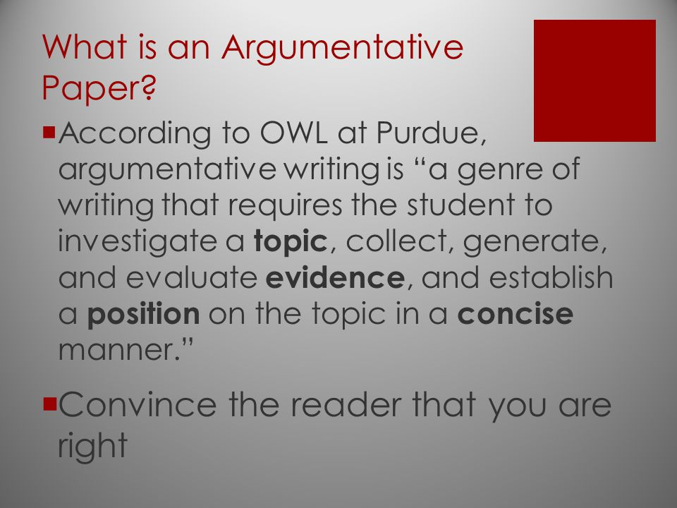 What is an Argumentative Paper