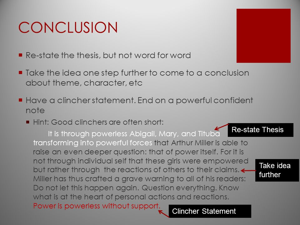 CONCLUSION Re-state the thesis, but not word for word
