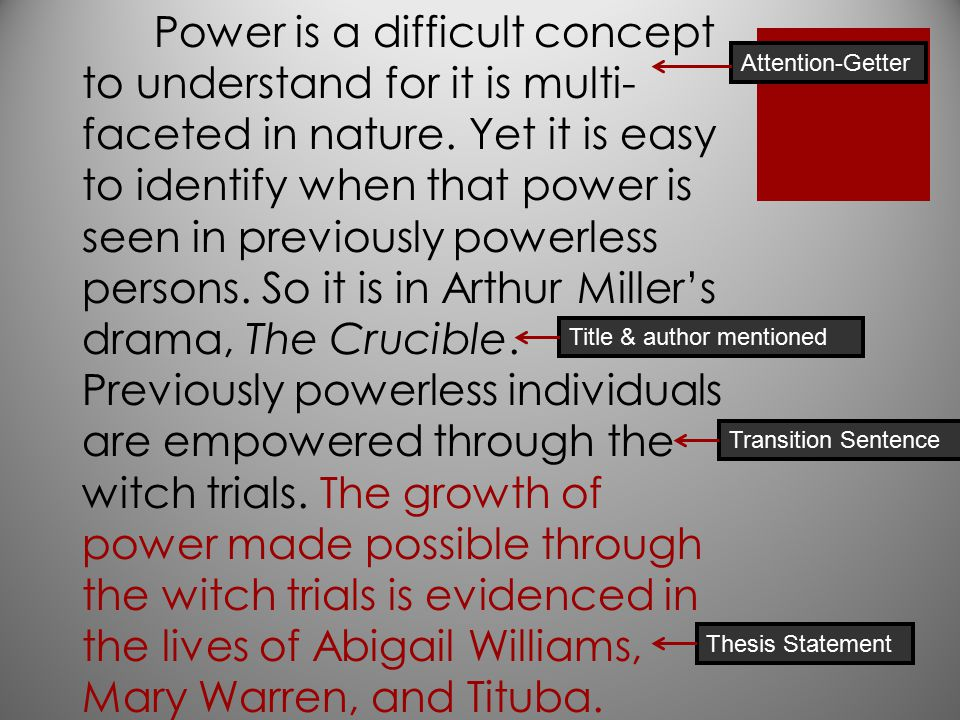 thesis statement on abigail williams Thesis statement argumentative  a comparison of the relationship between john procter and abigail in the crucible 870 words 2 pages a literary analysis of the cruible by arthur miller 661 words  a literary analysis of abigail williams in the crucible by arthur miller 429 words.