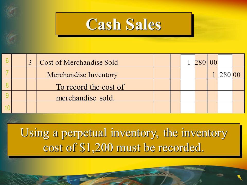 Cash Sales 6. 3 Cost of Merchandise Sold 1 280 00. 7. Merchandise Inventory 1 280 00. 8. To record the cost of.