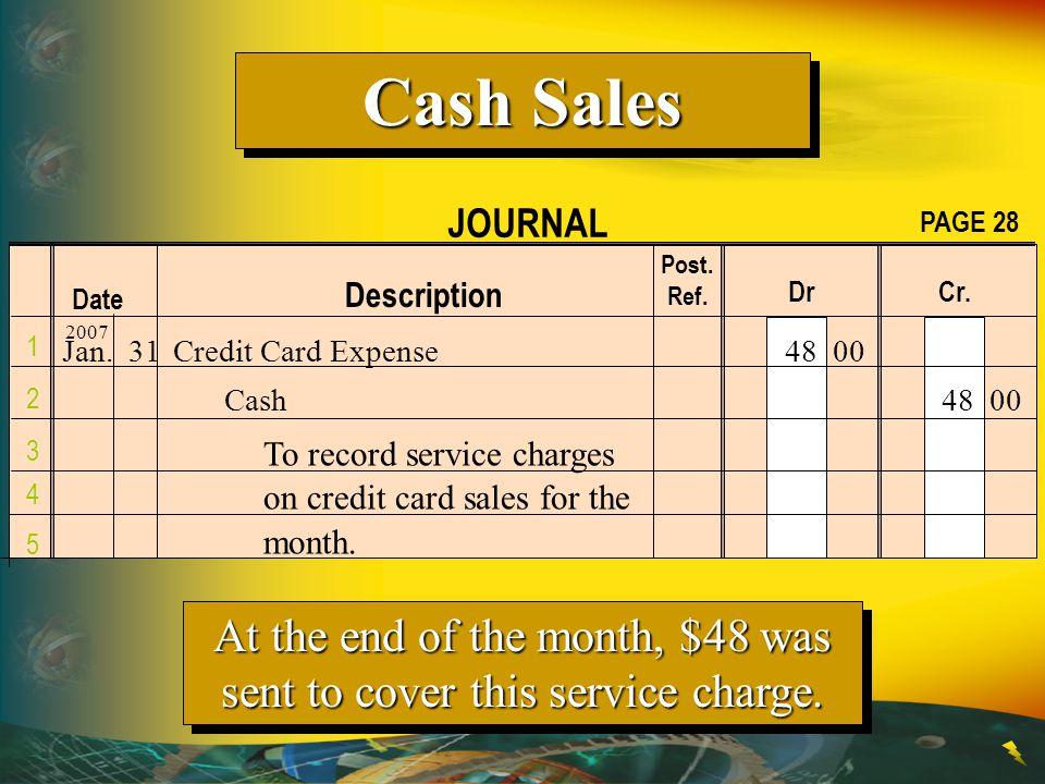 Cash Sales JOURNAL. PAGE 28. Post. Ref. Description. Dr Cr. Date. 2007.