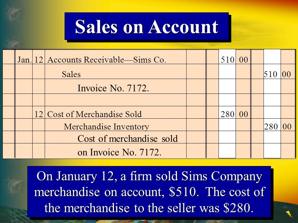 Sales on Account Jan. 12 Accounts Receivable—Sims Co. 510 00. Sales 510 00. Invoice No. 7172.