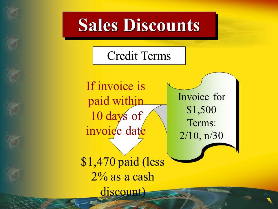 Sales Discounts Credit Terms