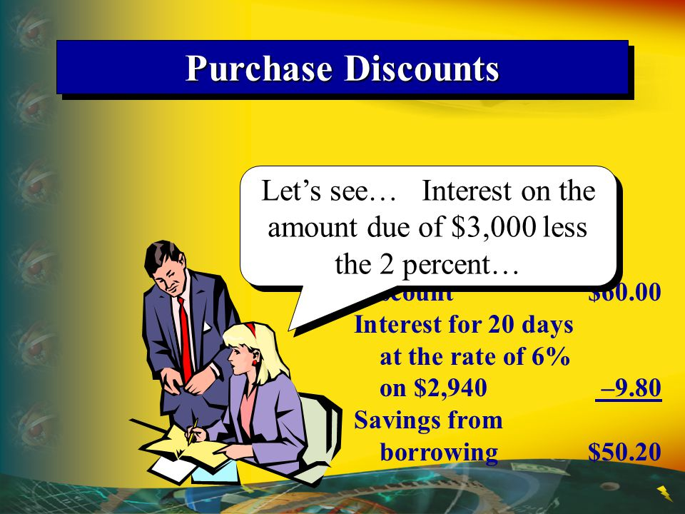 Let's see… Interest on the amount due of $3,000 less the 2 percent…